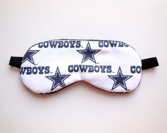 Dallas Cowboys Sleep Mask, White Navy Blue Stars, Soft Dark Navy Cotton Satin Fleece, NFL Football, Night Men Women, Eyemask Sleepmask