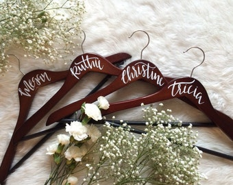 Custom Wedding Hangers, Bridal Party Hangers , Bridesmaid Gifts , Maid of Honor Gifts , Hand Painted Wedding Hangers