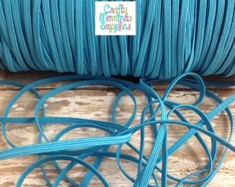 ON SALE Turquoise Skinny Elastic for Baby Headbands, 1/8 inch - 5 Yards Wholesale - 10 Yards - Infant Headbands, DIY