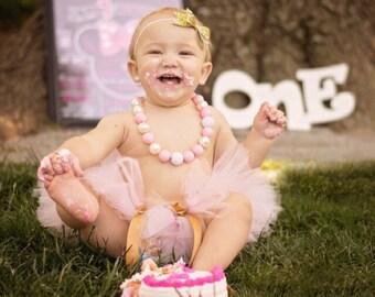 Cake Smash Outfit Girl, Pink and Gold 1st Birthday Outfit, Birthday Tutu Headband, Tutu for Birthday, Cake Smash Tutu