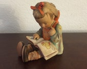 1960s Hummel Bookworm Girl, #8 Girl Hummel, Girl Reading Book,