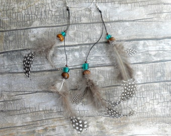 Leather earrings with real Guinea fowl feathers / Boho Bohemian style / ladies unique handmade jewelry / rare trendy jewelery trending items