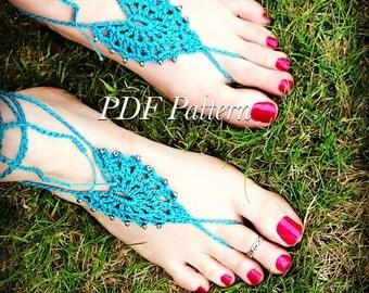 Beaded Bohemian Barefoot Sandals PDF PATTERN, boho sandals, beaded barefoot sandals, hippie sandals, hippie barefoot sandals, bridal sandals