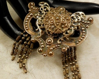 Vintage Style Metal Spec NY Art  Nouveau Style Dangle Brooch
