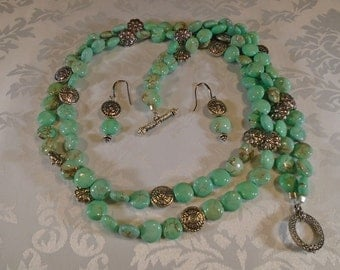 Double Stranded Green Turquoise & Silver Set