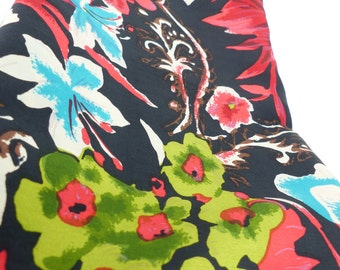 Vintage  Silk Scarf  oblong with Plump rolled edges in a Floral design: Teal, Red, Brown and Greens