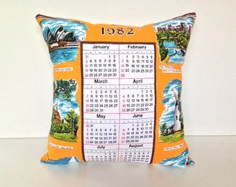 Cushion cover 1982 Calendar Australian souvenir pillow