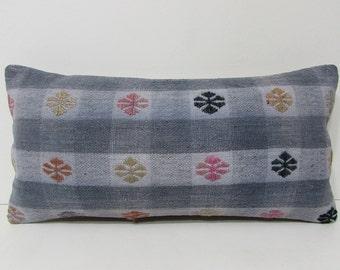 kilim pillow lumbar floor pillow southwestern pillow bohemian throw pillow rustic throw pillow tribal pillow case modern pillow cover 27807