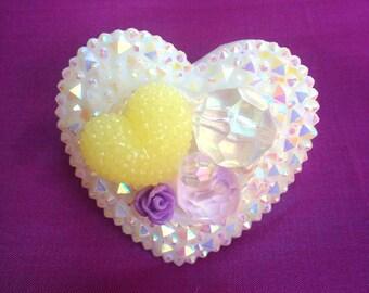 Frosted Heart Kawaii Statement Ring, sweet lolita, girly, chunky, fairy kei, gyaru, Harajuku