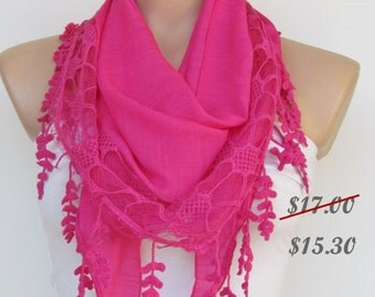 Fuchsia Scarf with Fringe and Lace -Triangle Shawl Scarf-New Season-Necklace-Lariat- Neckwarmer- Infinity Scarf-Mother's Day Gift