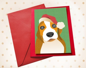 Dog Christmas card beagle