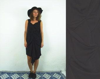 90's vintage women's bohemia black minimal  dress
