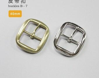 40mm Solid Brass Strap Buckles Nickel Finish Belt Seiwa Japan LeatherMob Leathercraft Leather