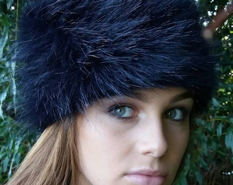 Navy Blue Faux Fur Russian Style Hat