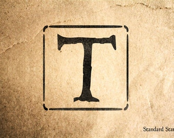 Letter T Block Rubber Stamp - 2 x 2 inches