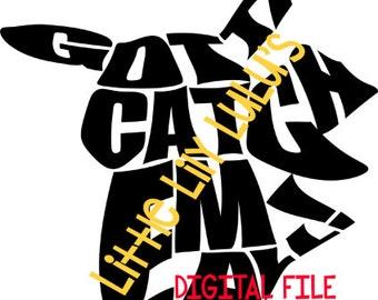 Pikachu word art DIGITAL SVG