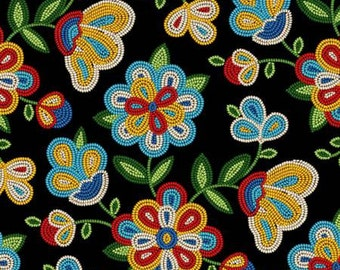 Native American beadwork look in fabric.