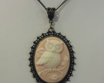 Bronze/Pink Owl Cameo Necklace
