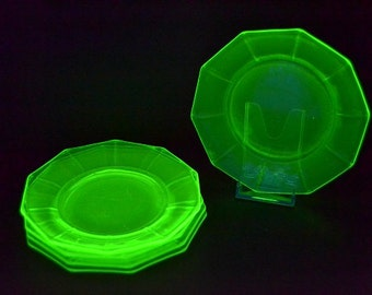 Green Vaseline Glass Dessert Plates