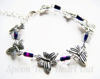 Butterfly Fibromyalgia/Lupus/Thyroid Bracelet With Purple Fire Polished Glass Beads Chronic Illness Awareness Jewellery