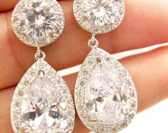 Bridal Earrings, CZ tear drop bridal wedding earrings,chandelier bridal earrings, birthday gift, wedding gift,gift for sister, best friend