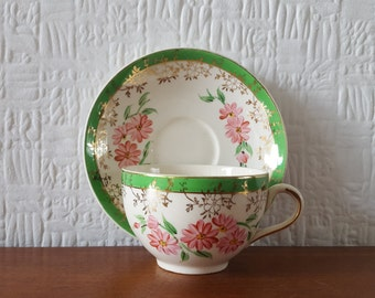 Hand finished Cup and Saucer - J Fryer & Son - Tunstall - England - 1940's