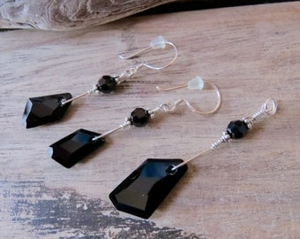 Silver Earring Pendant Set made with Black Swarovski Crystals and Sterling Silver OOAK design CreativeWorkStudios