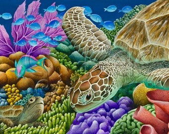 Carolyn Steele art print, coral reef, sea turtles: Glide Path