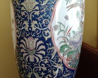 Oriental Decor, Oriental Vase, Porcelain Hand Painted Oriental Vase, Floral Oriental Vase, Oriental Urn,Porcelain Urn