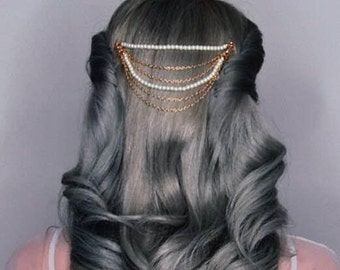 Vintange Inspired Hair Chain Comb With Pearls