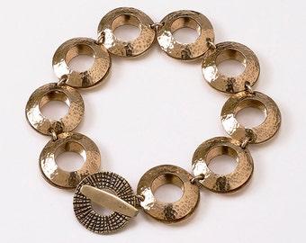 "Bronze Metal Bracelet - Circular Design 3/4"""