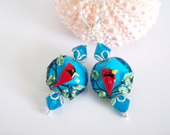 Cardinal Artisan Lampwork Earrings - Item E2071