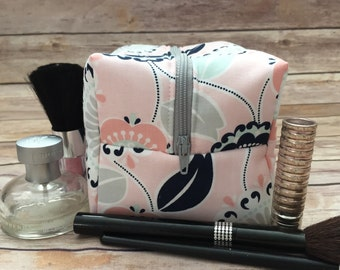 Blush Floral Makeup Bag, Navy Cosmetic Case, Pink Dopp Kit, Pink Floral Cosmetic Bag, Box Pouch, Bridesmaid Gift Under 20, Monogram Bag