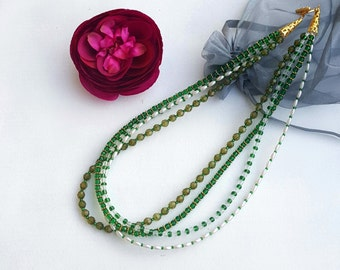 Green 4 strand beaded necklace
