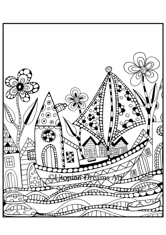 quirky houses coloring pages - photo#2