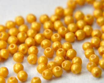 Czech pressed glass round 3mm druk beads pacifica macadamia 100 beads
