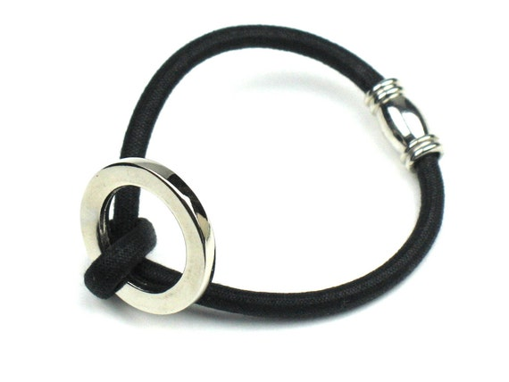 Cord Bracelet  in Black and Silver with Knotted Mokuba Cord, Stainless Steel Magnetic Clasp and Silver Accent Ring by elle and belle