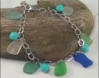Stainless steel bracelet Seaglass Authentic Sea Glass Raimbow colors