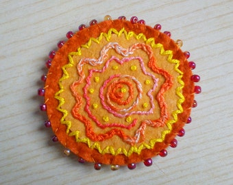 Embroidered Felt Brooch with Beads - Orange, Yellow