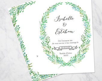 Green foliage wreath watercolour wedding invitation