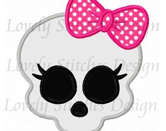 Girl Skull Applique Machine Embroidery Design NO:0535