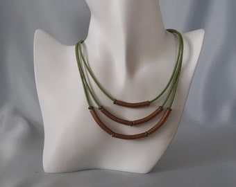 3 Strand Distressed Green & Antique Copper Necklace