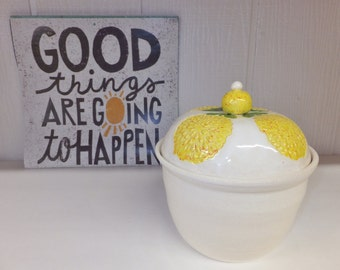 Yellow Mum Ceramic Canister, Handmade Pottery Cookie Jar, Wild Crow Farm Pottery