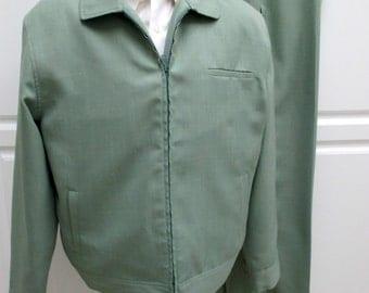 Vintage Leisure Suit, Irvine Park, American Hustle suit, Anchorman, Mens mid century suit, Mint Green Leisure suit