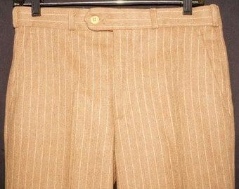 1970s Pinstripe Bell Bottom Pants 32x30 3/4 Vintage Retro Hippie