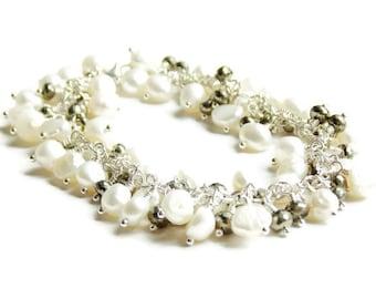 Exquisite Brides Heirloom Freshwater Pearls Pyrite Cluster Charm Bracelet // June Birthstone Bracelet // Luxe Gemstone Jewelry