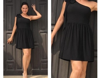 Black one shoulder  short dress All size