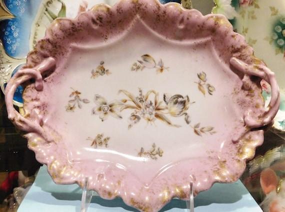 Antique Bread Tray ALTROHLA Austria Victorian 1800s Porcelain Handle Dish Aesthetic Movement Floral Transferware Cottage Chic Romantic Decor