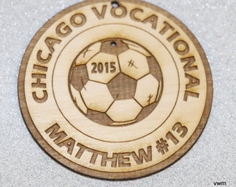 "Personalized Wooden Soccer Ornament 3"" diameter Player Name, School included"