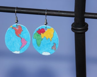Montessori World Map Earrings